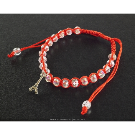 Paris Bracelet white pearl and small red cord