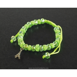 Paris Bracelet pearls and green cord