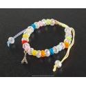 Paris Bracelet white pearls and multicolor cord