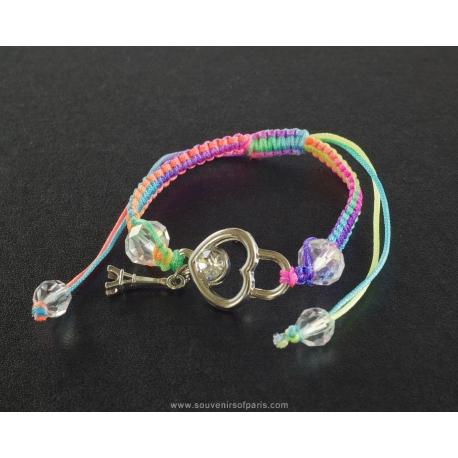 Paris Bracelet heart and multicolor cord