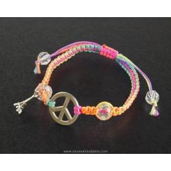 Paris bracelet Peace and multicolor cord