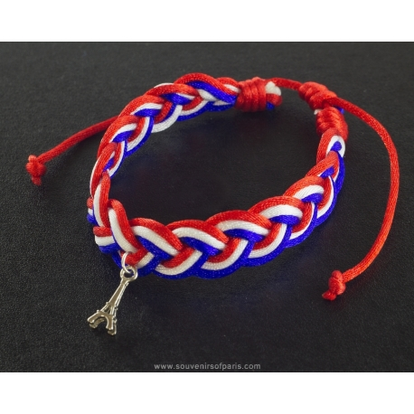 Bracelet Paris red white blue braided cord