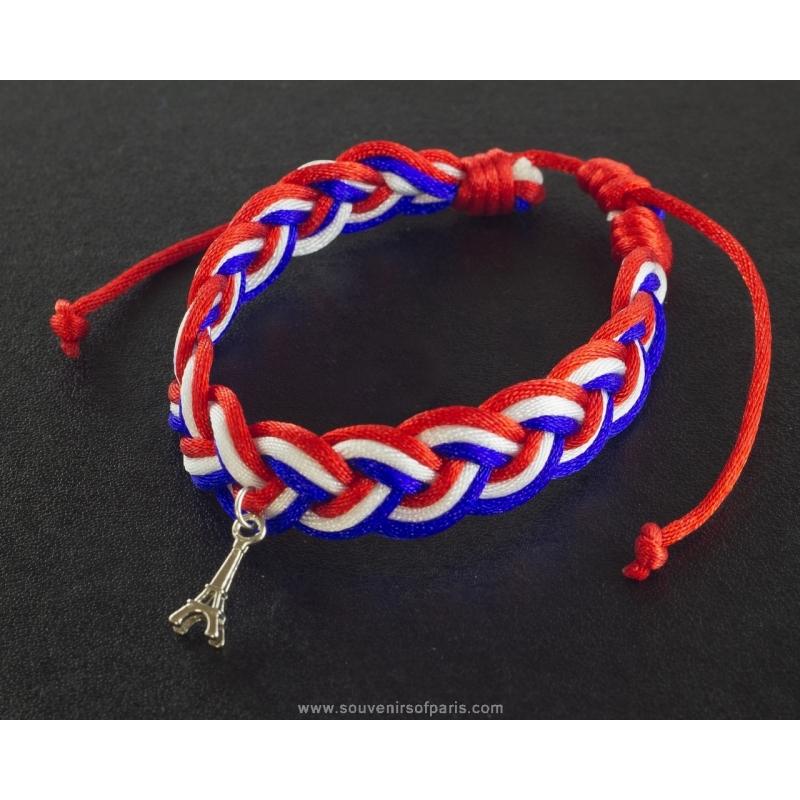 Bracelet Paris Red White Blue Braided Cord