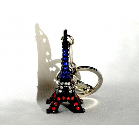 Key ring Eiffel Tower Blue/White/Red