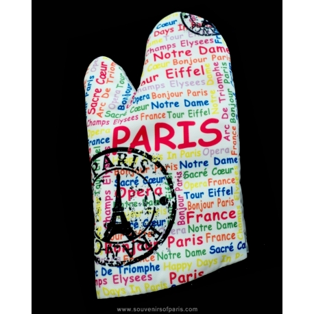 Paris writing Oven glove