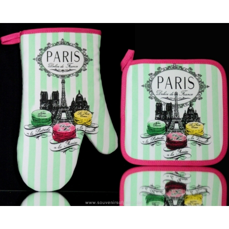 Pot holder and Oven glove Macaron Délice