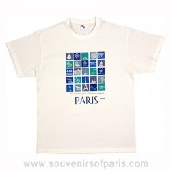 "White ""24 Monuments"" Paris T-Shirt"