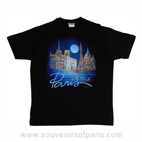 Black Paris Moon T-Shirt