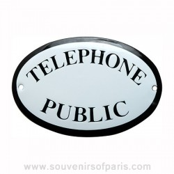 Public Telephone Stencilled French Enamel Door Sign/Plaque