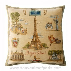 "Eiffel tower Pillow Cover ""Bonjour Paris"""
