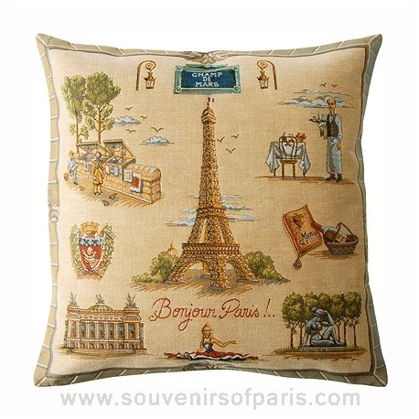 "Paris Pillow Cover ""Bonjour Paris"""