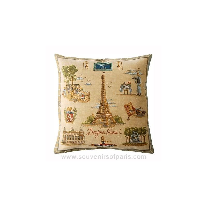 """Paris Eiffel Tower Pillow 16 X 16: Paris Pillow Cover """"Bonjour Paris"""""""