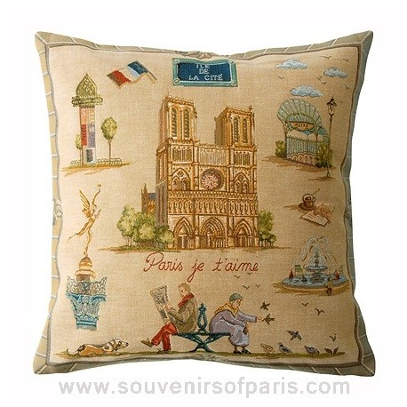"Paris Pillow Cover ""Paris je t'aime"""
