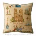 """Notre Dame Pillow Cover """"Paris je t'aime"""""""