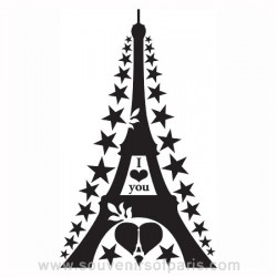 "Big Eiffel Tower Wall Decal ""I love you"""