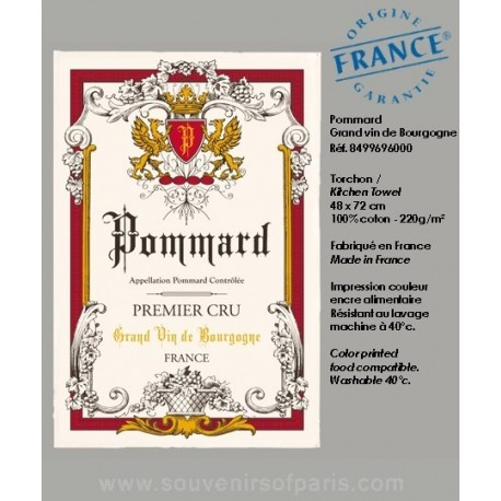 Pommard - French vineyard map dish Towel