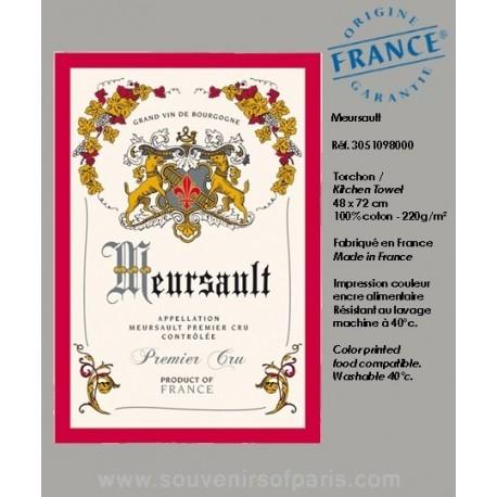 Meursault - French vineyard map dish Towel