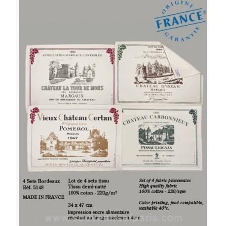 Bordeaux Wine Label Placemats (Set of 4)