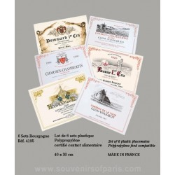 Bourgogne (Burgundy) Wine Label Placemats (Set of 6) Plastic