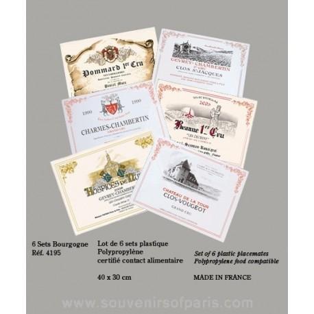 Bourgogne (Burgundy) Wine Label Placemats (Set of 6) Plastic