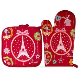 Paris Medallion Oven glove and Potholder