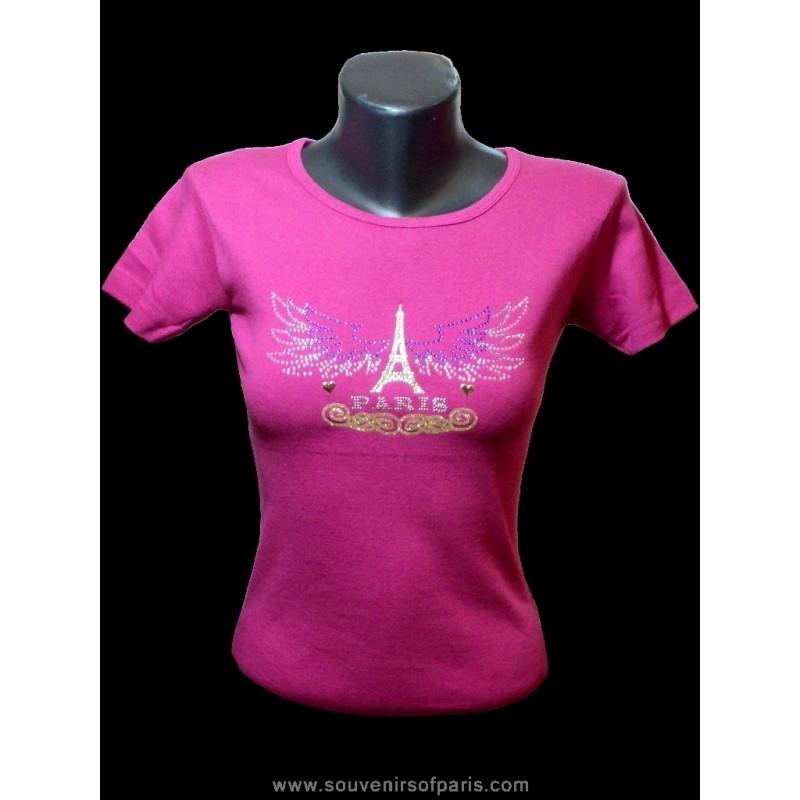 "Triumph T Shirt >> T-shirt Strass ""Paris Eagle wings"""