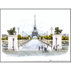 "Poster F. Dhoska ""Paris in color"" 5.90"" (15cm) x 7.87"" (20cm)"