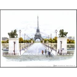 """Poster F. Dhoska """"Paris in color"""" 5.90"""" (15cm) x 7.87"""" (20cm)"""