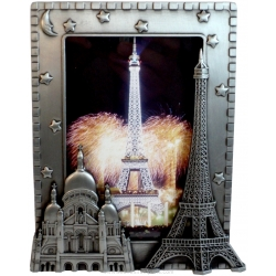 Photo frame Eiffel Tower / Sacred Heart Metal