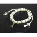 Paris Bracelet white cord and pearls