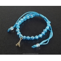 Paris Bracelet pearl and blue cord