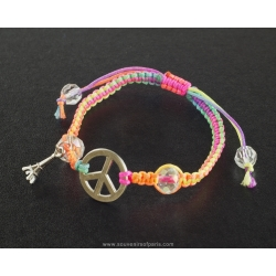 Paris bracelet Peace and multicolor cord