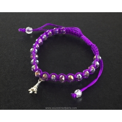 Paris Bracelet purple pearls and cord
