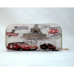 Eiffel tower touring in Citroen 2 CV wallet