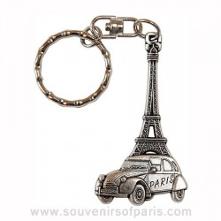 2CV/Eiffel Tower Key Chain