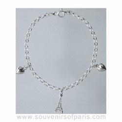 Sterling Silver Eiffel Tower Bracelet with Hearts