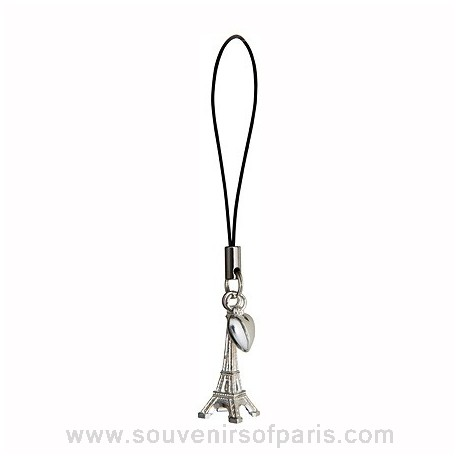 Cell phone Eiffel Tower Charm with an heart