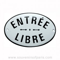 Free Entry Stencilled French Enamel Door Sign/Plaque