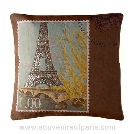 """Sparkling Eiffel Tower Pillow Cover """"Love From Paris"""""""