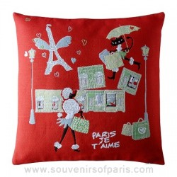 Red Paris Pillow