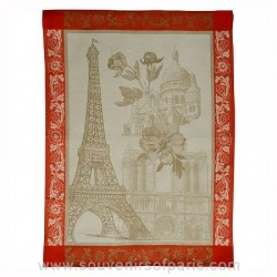 Paris with Flowers Tea Towel
