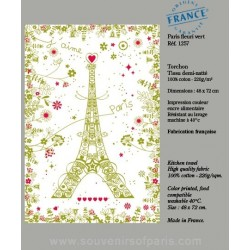 Paris with flowers green dish Towel