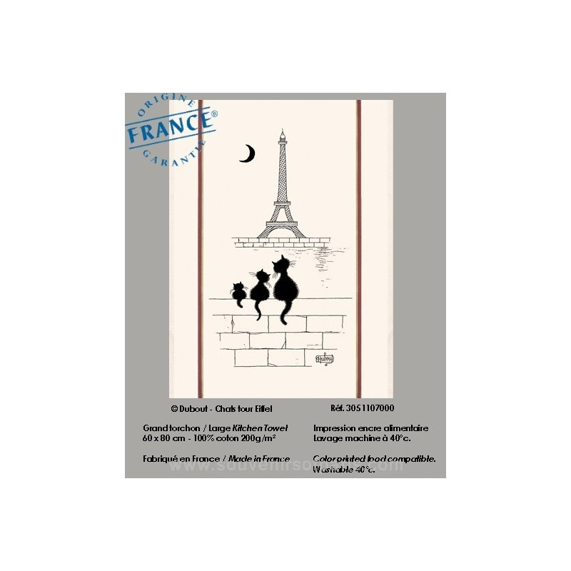 Cats Eiffel Tower Dubout Collection Dish Towel