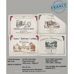 Bordeaux Wine Label Placemats (Set of 4)
