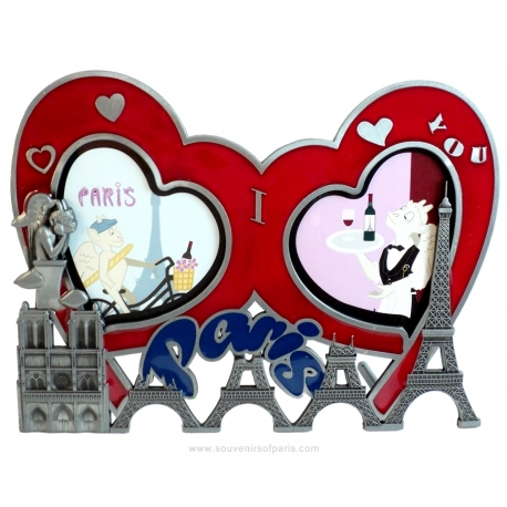 Photo frame double heart Eiffel Tower/Notre-Dame